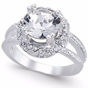 ✨Silver-Tone Pavé Stone Halo Crystal Ring Size 9